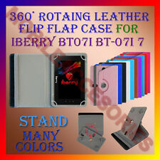 "ACM-ROTATING 360° LEATHER FLIP STAND COVER 7"" CASE for IBERRY BT07i BT-07i 7 TAB"