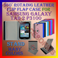 "ACM-ROTATING 360° LEATHER FLIP STAND COVER 7"" CASE for SAMSUNG TAB 2 P3100 TAB"