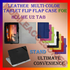 "ACM-LEATHER FLIP FLAP MULTI-COLOR 7"" COVER & STAND for HCL ME U2 TABLET HOLDER"