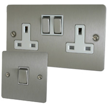 Flat Brushed Steel Sockets and Switches with White Inserts and Matching Switches