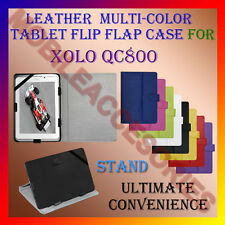 "ACM-LEATHER FLIP FLAP MULTI-COLOR 8"" COVER & STAND for XOLO QC800 TABLET CASE"