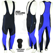 Mens Cycling Bib Tights Coolmax Padded MTB Road Bike Long Pants Black/Blue