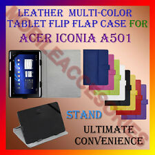 """ACM-LEATHER FLIP FLAP MULTI-COLOR 10"""" COVER & STAND for ACER ICONIA A501 TABLET"""