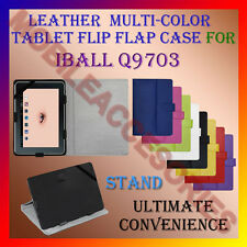 "ACM-LEATHER FLIP FLAP MULTI-COLOR 10"" COVER STAND for IBALL Q9703 TABLET CASE"