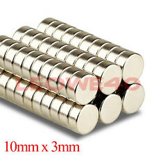 5/10/25/50/100 Strong Round Cylinder Magnet 10x3mm Rare Earth Neodymium 729