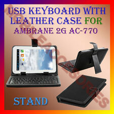 """ACM-USB KEYBOARD 7"""" CASE for AMBRANE 2G AC-770 TABLET LEATHER COVER STAND HOLDER"""