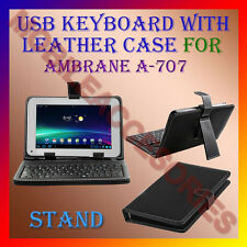 "ACM-USB KEYBOARD 7"" CASE for AMBRANE A-707 TABLET LEATHER COVER STAND HOLDER NEW"