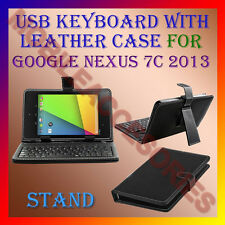 """ACM-USB KEYBOARD 7"""" CASE for GOOGLE NEXUS 7C 2013 TAB LEATHER COVER STAND HOLDER"""