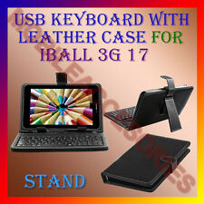 """ACM-USB KEYBOARD 7"""" CASE for IBALL 3G 17 TABLET LEATHER COVER STAND HOLDER FLAP"""