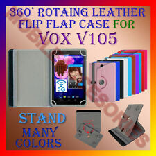 """ACM-ROTATING 360° LEATHER FLIP STAND COVER 7"""" CASE for VOX V105 TABLET NEW TAB"""