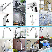 Mixer TAPS Square Waterfall Kitchen Bathroom Basin Faucet Sink Chrome Brass UK