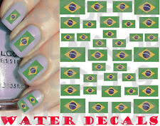 WATER DECALS BANDIERA BRASILE UNGHIE NAIL ART ADESIVI BRAZIL FLAG STICKERS TATTO