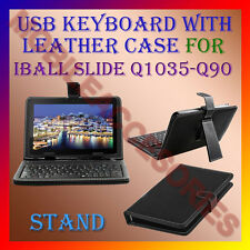 "ACM-USB KEYBOARD 10"" CASE for IBALL SLIDE Q1035-Q90 LEATHER COVER STAND TABLET"