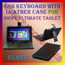 """ACM-USB KEYBOARD 10"""" CASE for SWIPE ULTIMATE TABLET  LEATHER COVER STAND FLIP"""