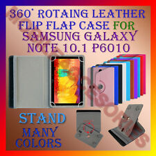 ACM-ROTATING 360° LEATHER FLIP STAND COVER CASE SAMSUNG GALAXY NOTE 10.1 P6010
