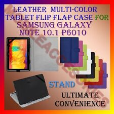 """ACM-LEATHER FLIP MULTI-COLOR 10"""" COVER CASE STAND for SAMSUNG NOTE 10.1 P6010"""