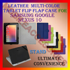 """ACM-LEATHER FLIP MULTI-COLOR 10"""" COVER CASE STAND for SAMSUNG GOOGLE NEXUS 10"""