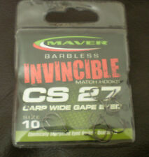 Maver Barbless Invincible Hooks CS27 Carp Wide Gape Eyed Hook