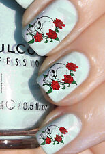 60x Water Decals TESCHIO ROSE Roses Skulls UNGHIE NAIL ADESIVI STICKERS TRANSFER