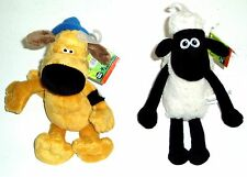 20cm SHAUN THE SHEEP OR BITZER THE SHEEPDOG  SOFT TOY GENUINE LICENSED