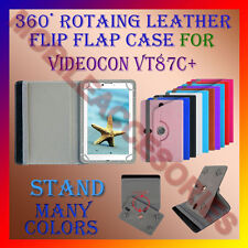 "ACM-ROTATING 360° LEATHER FLIP STAND COVER 7"" CASE for VIDEOCON VT87C+ TABLET"