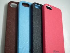 Imported Leather Touch Feel Hard Back Case Cover Made For Apple iPhone 5, 5s