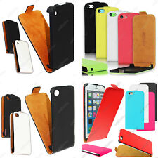 Housse Etui Coque Rabat Flip Clapet Pu Cuir Apple iPhone 6 Plus 5S 5 4S 4 +Film