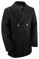 NEW US NAVY STYLE VINTAGE WOOL WINTER REEFER PEA COAT XXS XS S M L XL XXL- XXXL