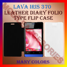 ACM-LEATHER DIARY FOLIO FLIP FLAP CASE for LAVA IRIS 370 MOBILE FRONT/BACK COVER