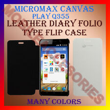 ACM-LEATHER DIARY FOLIO FLIP CASE for MICROMAX CANVAS PLAY Q355 MOBILE COVER NEW
