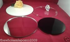 Acrylic Cake Display Stand Plate Board Round Plastic Clear White Mirror Black
