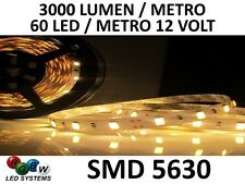 STRISCIA SMD 5630 300 LED 12 VOLT BIANCO CALDO WHITE 5 METRI STRIP NO 5050 RGB