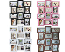 WHITE PINK BROWN NEW PHOTO PICTURE FRAME HOLDS 12 PHOTOS APERTURE MULTI COLLAGE