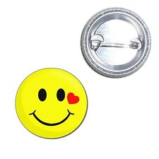 Smiley with Heart - Button Badge - Choice 25mm/55mm/77mm Novelty Fun BadgeBeast