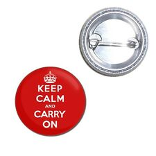 Red Keep Calm and Carry On - Button Badge 25mm/55mm/77mm Novelty Fun BadgeBeast