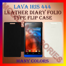 ACM-LEATHER DIARY FOLIO FLIP FLAP CASE for LAVA IRIS 444 MOBILE FRONT/BACK COVER