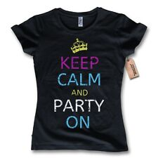 donna maglietta KEEP CALM AND PARTY ON 100% Cotone nero Divertente Tgl S M L XL