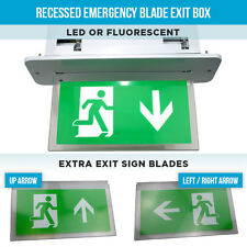 RECESSED EMERGENCY LIGHTS BLADE EXIT BOX LED OR FLUORESCENT FIRE EXIT LIGHTS