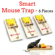 NEW 6 PC WOODEN MOUSE TRAPS- Rat Mice Rodents Vermin Control Easy Set Fast Bait