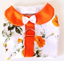 Precious pup white and orange flowery pattern dog harness