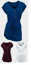 """TPT"" Ladies Womens Day Top Scoop Neck Button Chest Pocket Belt Loops Blue Shirt"