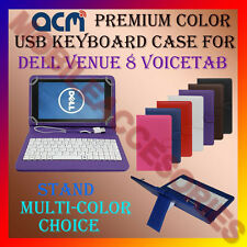 "ACM-USB COLOR KEYBOARD 8"" CASE for DELL VENUE 8 VOICETAB  LEATHER COVER STAND"