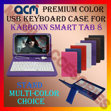 "ACM-USB COLOR KEYBOARD 8"" CASE for KARBONN SMART TAB 8 LEATHER COVER STAND FLIP"