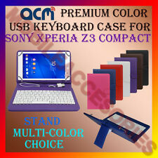 "ACM-USB COLOR KEYBOARD 8"" CASE for SONY XPERIA Z3 COMPACT LEATHER COVER STAND"