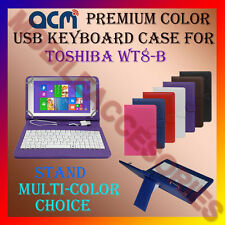 "ACM-USB COLOR KEYBOARD 8"" CASE for TOSHIBA WT8-B TABLET LEATHER COVER STAND FLIP"