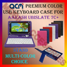 "ACM-USB COLOR KEYBOARD 7"" CASE for AAKASH UBISLATE 7C+TABLET LEATHER COVER STAND"