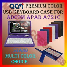 """ACM-USB COLOR KEYBOARD 7"""" CASE for ADCOM APAD 721C TABLET LEATHER COVER STAND"""