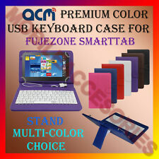 "ACM-USB COLOR KEYBOARD 7"" CASE for FUJEZONE SMARTTAB TABLET LEATHER COVER STAND"