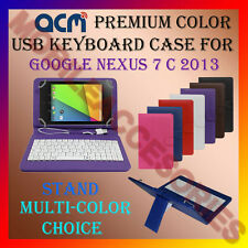 """ACM-USB COLOR KEYBOARD 7"""" CASE for GOOGLE NEXUS 7 C 2013 TAB LEATHER COVER STAND"""