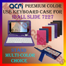 "ACM-USB COLOR KEYBOARD 7"" CASE for IBALL SLIDE 7227  TABLET LEATHER COVER STAND"